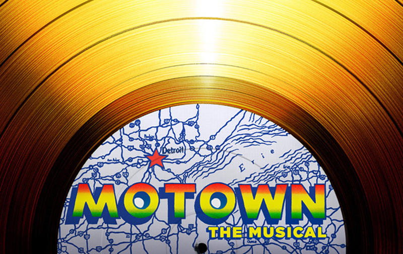 "Motown The Musical Logo - gold record w/the words ""Motown The Musical"" in the center"