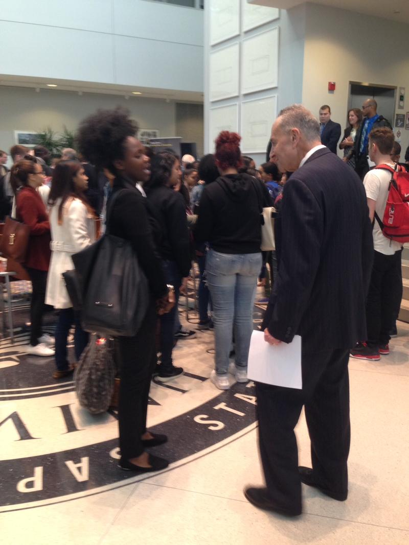 Senator Chuck Schumer speaks with a UAlbany student in University Hall, November 2015.