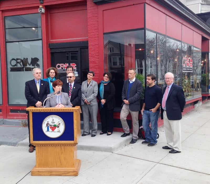Mayor Kathy Sheehan at the podium, corner of Quail St. & Western Ave.