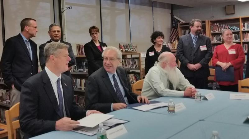 Gov Baker participates in a roundtable discussion on education