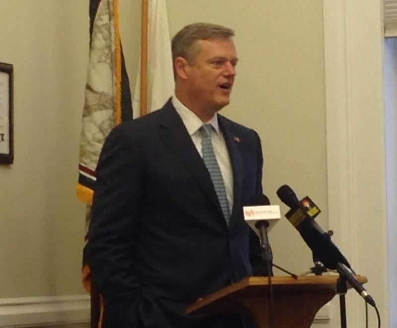 This is a picture of Massachusetts Governor Charlie Baker speaking in Great Barrington Tuesday.