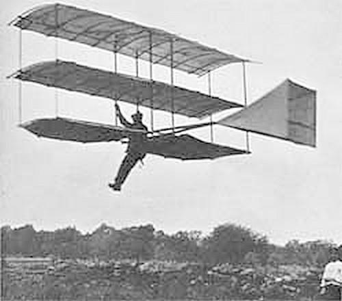 This is a picture of Gustave Whitehead piloting his glider of 1903.