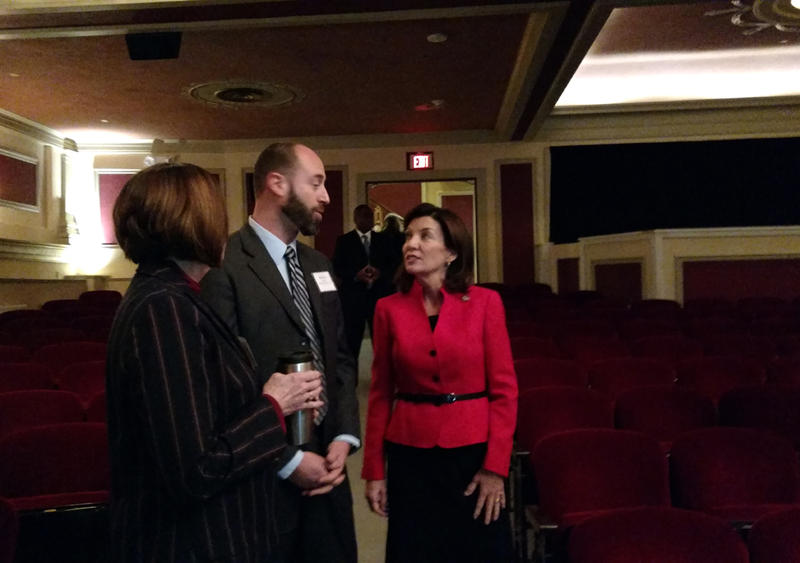 Photo of Lieutenant Governor Kathy Hochul inside the Strand Theatre