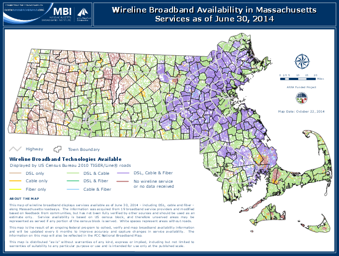 This is a picture of a map of Massachusetts highlighting where broadband internet access is available as of June 2014