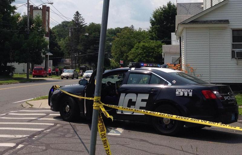 This is a picture of a Pittsfield Police car at a shooting scene in July 2015.