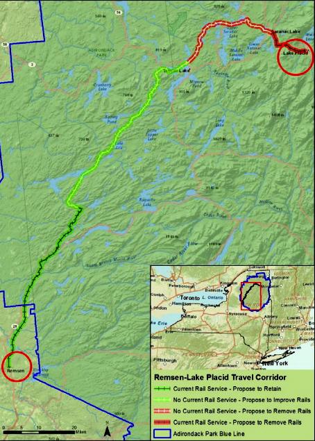 Map of Remsen-Lake Placid travel corridor