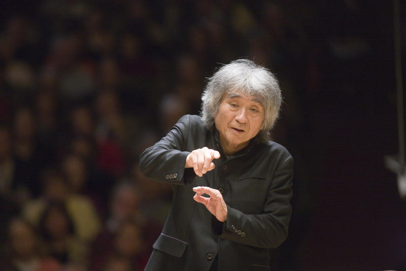 This is a picture of Seiji Ozawa conducting the Boston Symphony Orchestra November 11, 2008