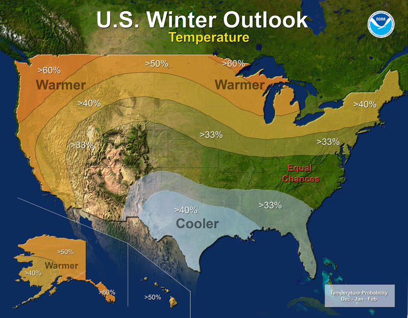 Map of NOAA Winter temperature outlook