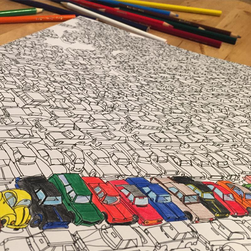 Page from Fantastic Cities coloring book -