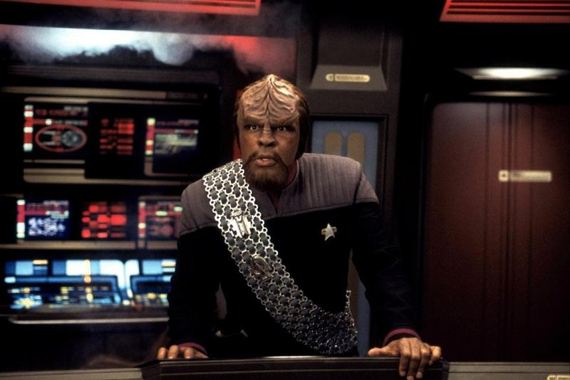 Michael Dorn as Worf on the bridge of The Enterprise