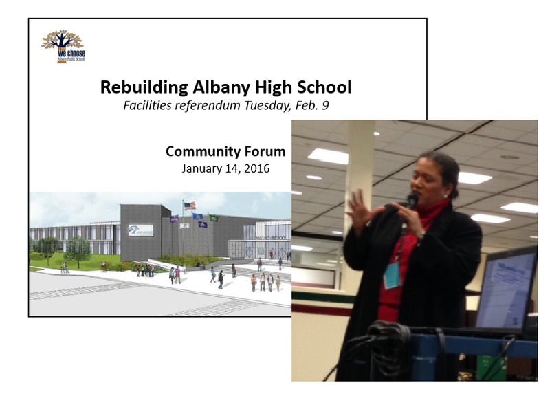 "City School District of Albany Superintendent Marguerite Vanden Wyngaard welcomed about two dozen residents who turned out for the first of two ""community forums,"""