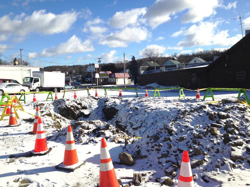 This is the site of the Troy water main break on the day after.