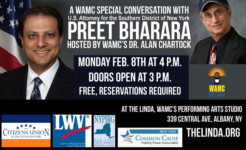 Preet Bharara will speak with WAMC's Alan Chartock.