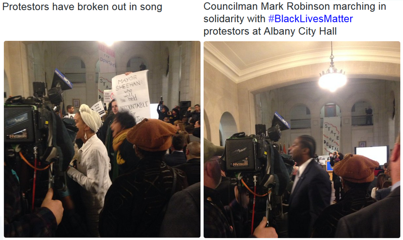 Protesters sang in the rotunda at city hall during the 2016 State of the City Address.