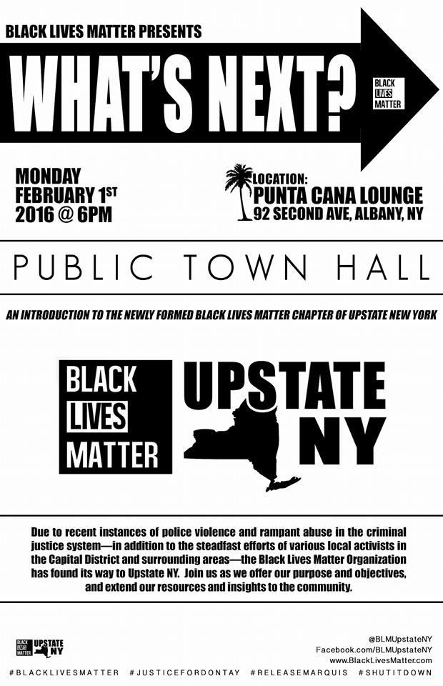 "Angelica Clarke says BLM Upstate NY is holding a ""What's Next"" public town hall February 1st 6pm at at Punta Cana, 92 Second Avenue, Albany."