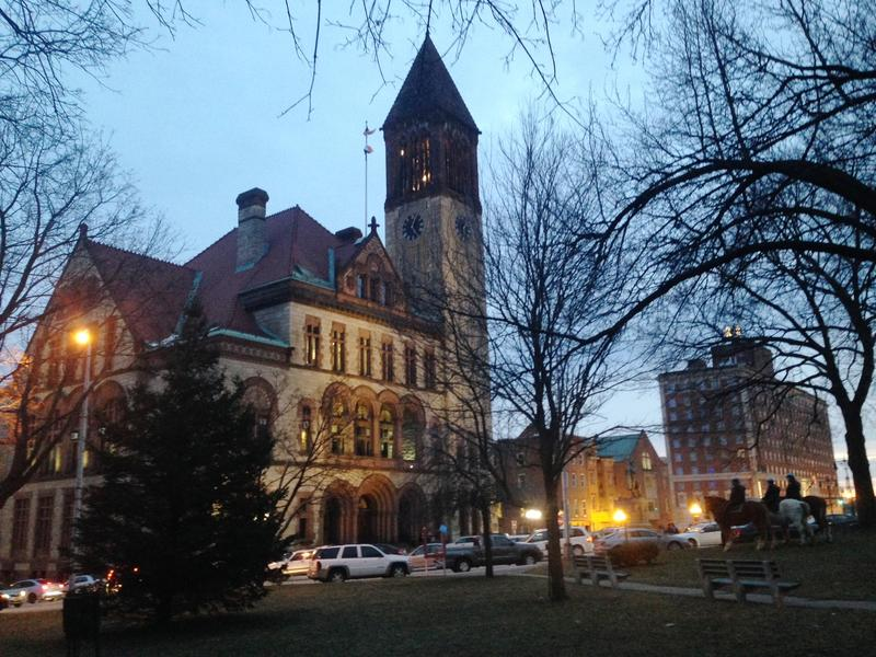 Albany City Hall at twilight, January 25, 2016