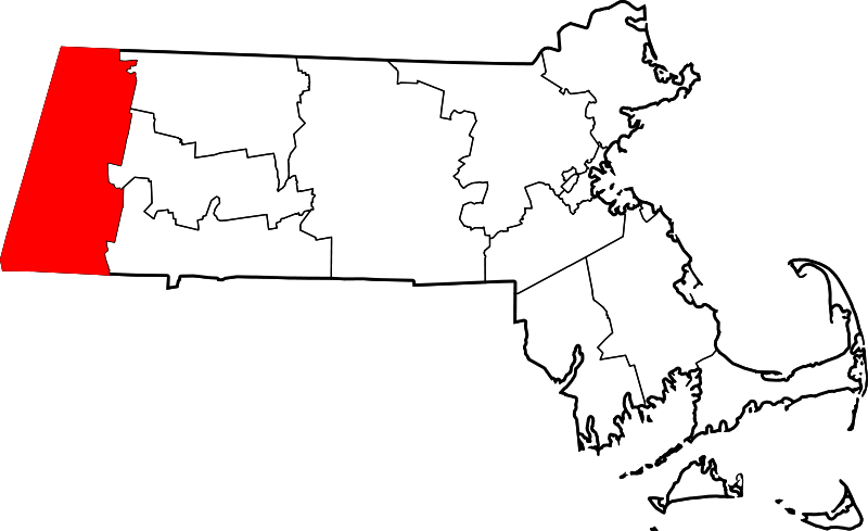 This is a map of Massachusetts highlighting Berkshire County.