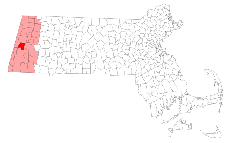 This is a map of Massachusetts highlighting the town of Lenox.