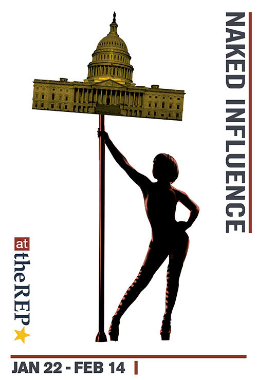 Poster for the play 'Naked' Influence at Capital Repertory Theatre in Albany, NY