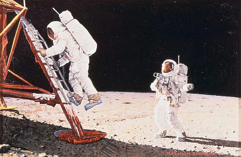 """The Final Impossibility"" by Norman Rockwell (astronauts on the moon)"