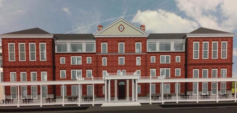 This is an updated rendering of The Berkshire, a hotel proposed in Great Barrington