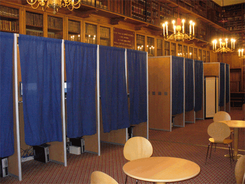 This is a picture of voting booths