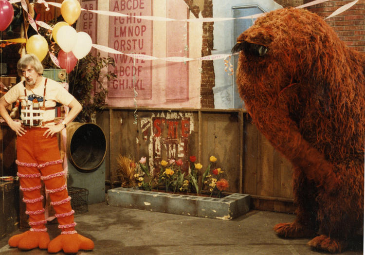 Caroll Spinney with Big Bird pants and Snuffleupagus