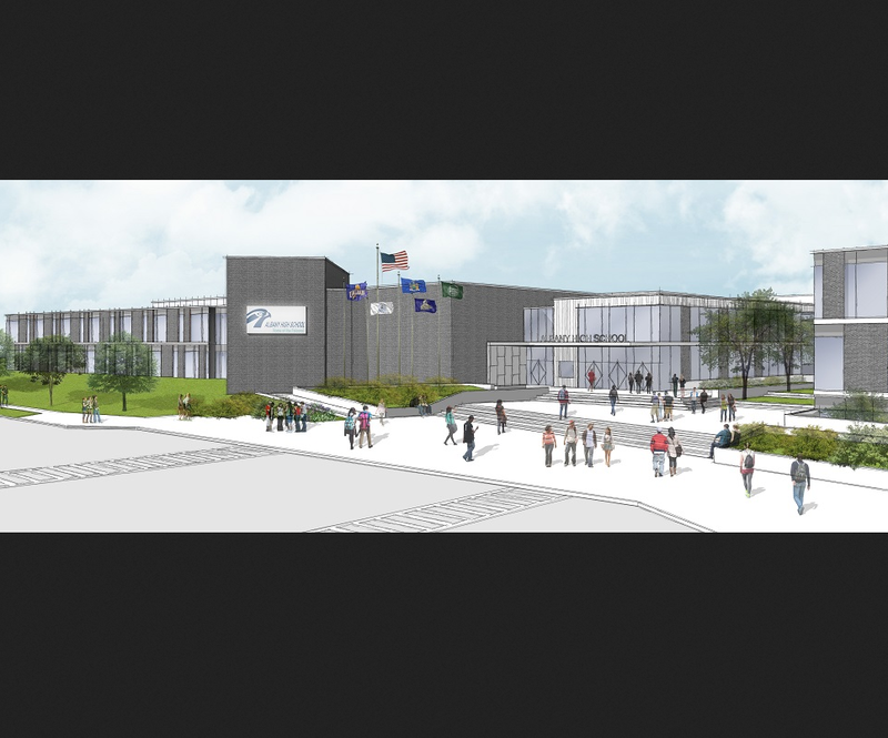 Artist's rendering of rebuilt Albany High exterior.