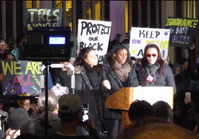 Asha Burwell,  a junior from Long Island and student manager of the women's basketball team, addressed the crowd at Monday's UAlbany rally.