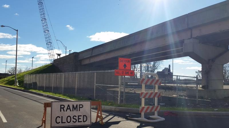 ramp closed sign leading to elevated interstate highway