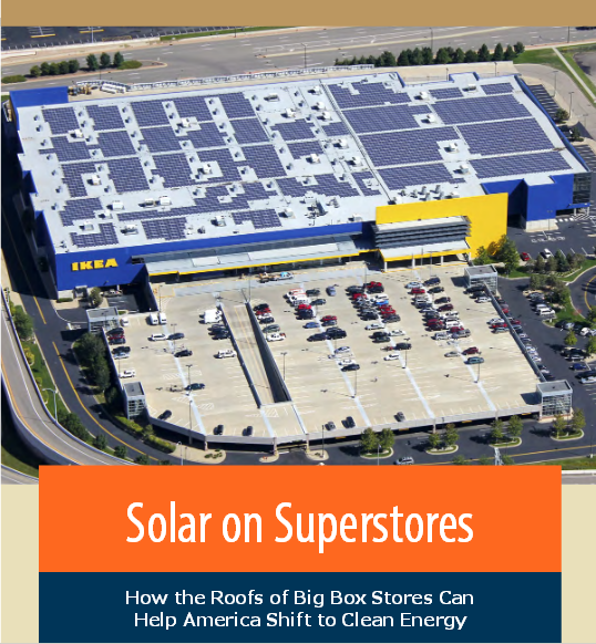 This is picture of the report's cover feature an image of solar panels of the rook of an IKEA store
