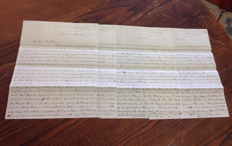 This is a picture of the four-page letter from David Davis to Julius Rockwell from 1878.