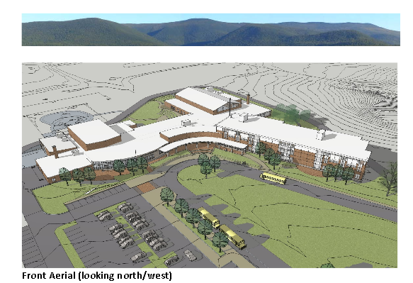 This is a picture of a rendering of the proposed Mount Greylock Regional School renovation.