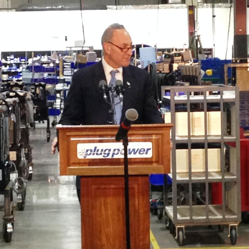 Sen. Schumer at the podium. (Plug Power, Latham NY Feb. 1, 2016)