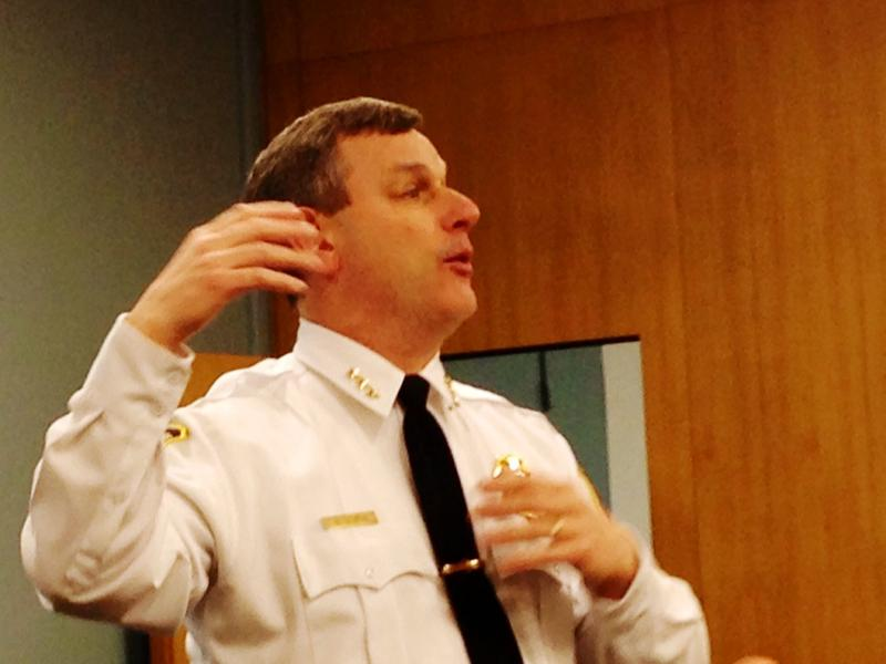 Chief Brendan Cox led the discussion at the Albany Public Library's Main Branch.