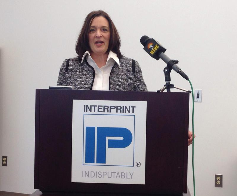 This is a picture of Pittsfield Mayor Linda Tyer speaking at Interprint Tuesday.