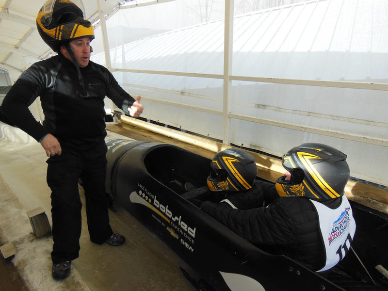 Michael Cashman in bobsled