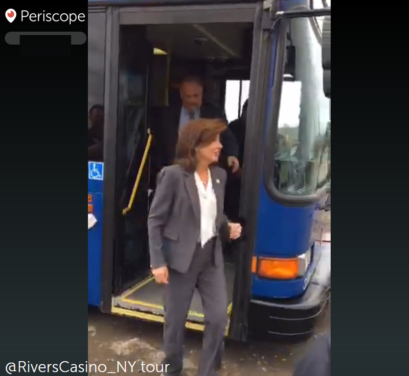 Lt. Gov. Kathy Hochul steps off a CDTA bus at the Rivers construction site.