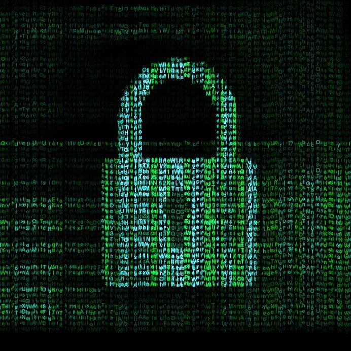 Visual representation of encryption - padlock made of ones and zeros