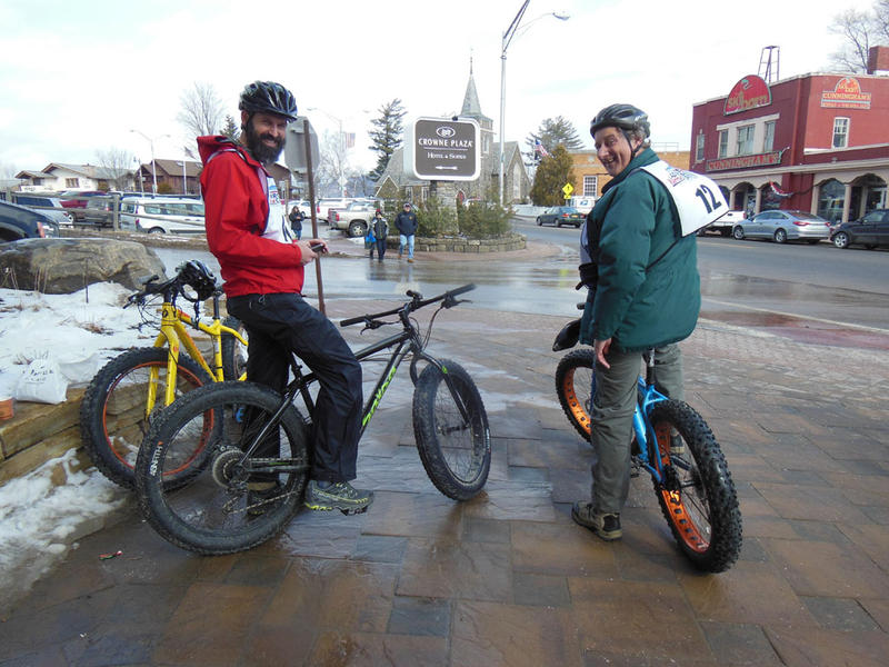 Willie Janeway of the Adirondack Council (left) joins Wester Miga in the phat bike competition