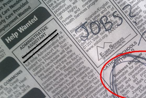 This is a picture of a job listing.