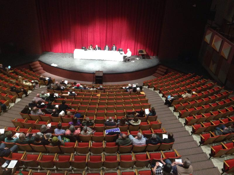 This is a picture of the Massachusetts Department of Public Utilities hearing at Berkshire Community College.
