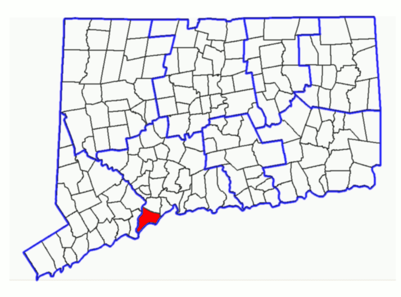 This is a map of Connecticut highlighting the city of Milford