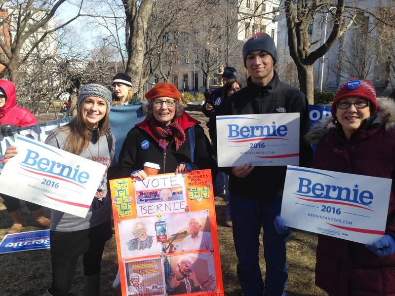 A mixed crowd from millennials to baby boomers supported Bernie Sanders Saturday afternoon at Albany's Academy Park.