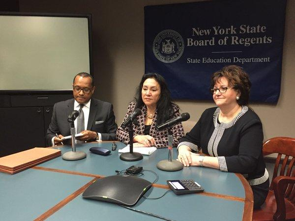 Regents Chancellor Betty Rosa, Vice Chancellor Andrew Brown and Education Commissioner MaryEllen Elia meet with the media after the board elections Monday in Albany.