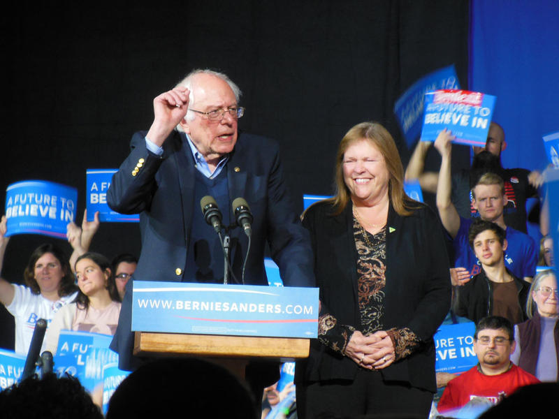 Senator Bernie Sanders with wife Jane at rally in Essex Junction 3-1-16