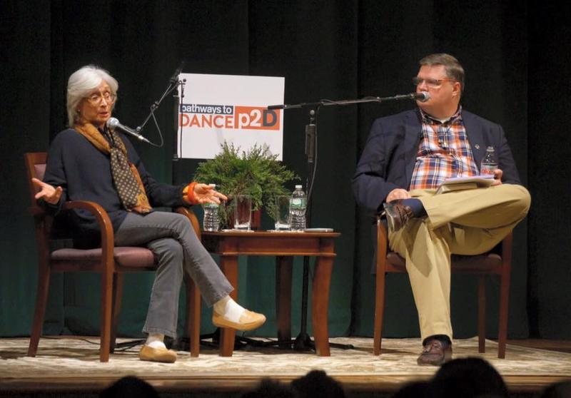 Twyla Tharp and Joe Donahue on stage at Page Hall in Albany