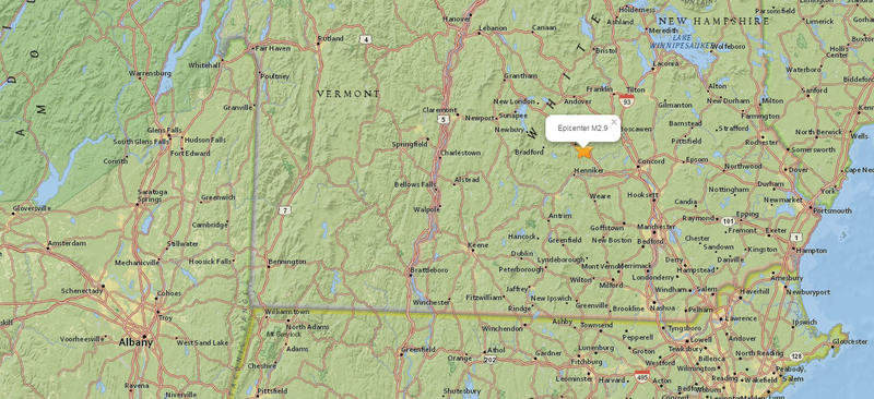 New Hampshire earthquake map
