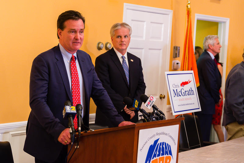 Senate Leader John Flanagan speaks at candidate Chris McGrath's headquarters on Long Island, where they asked for a recount.