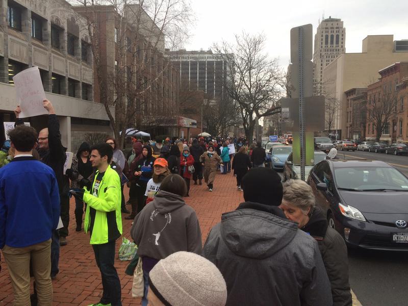 Line for Bernie Sanders rally at the Washington Avenue Armory